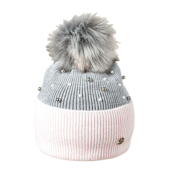 Зимна шапка с перли за момиче 634007