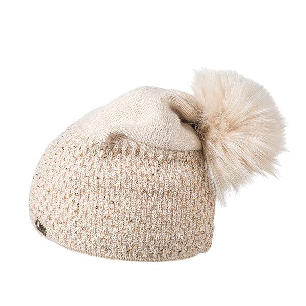 Зимна шапка с пайети и помпон 630024