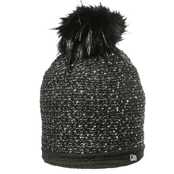 Плетена зимна шапка с пайети 630031