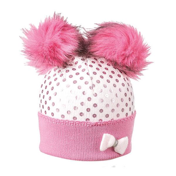 Плетена шапка с два помпона и панделка 634002