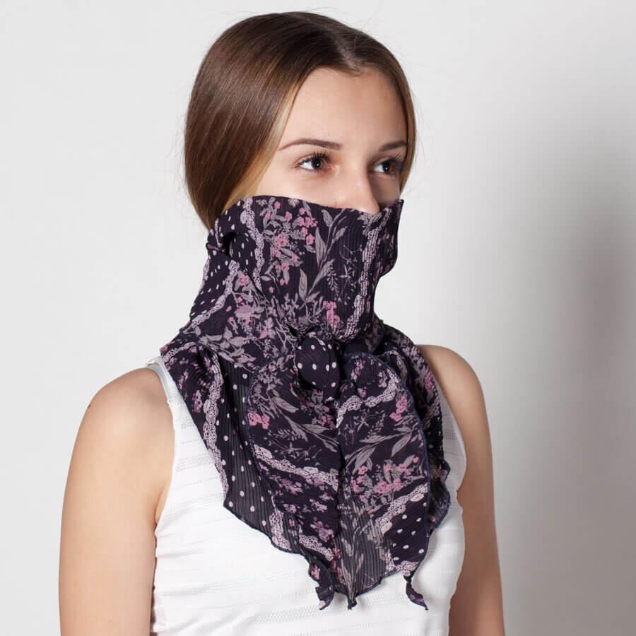 Защити себе си и околните със специален защитен шал, в който има джоб за филтър със сребърни йони. Филтърът се поставя пред носа и устата, а шалът е алтернатива на многократните маски с филтър.