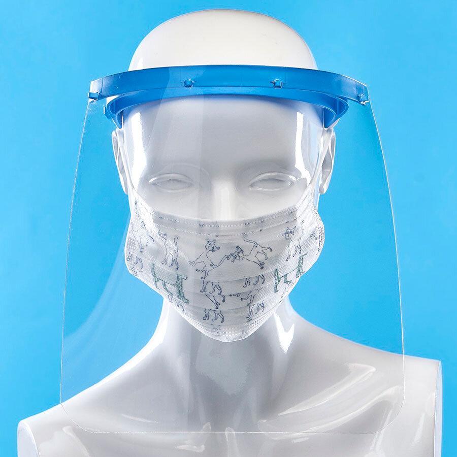 Защитен шлем за лице против пръски. Голямата прозрачна предпазна плака. Лесен за дезинфекция. Комбинирайте с маски с филтър или еднократни маски от promask.