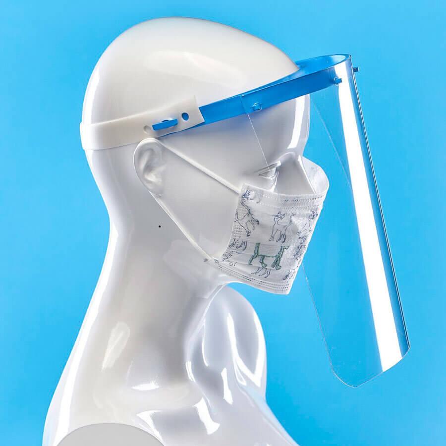 Предпазен шлем за лице от Promask. Защитава от пръски. Удобен и практичен, лесен за дезинфекция. Комбинирайте с маски с филтър за по-сигурна защита.