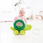 H0354 Дървена играчка за дърпане – Костенурка