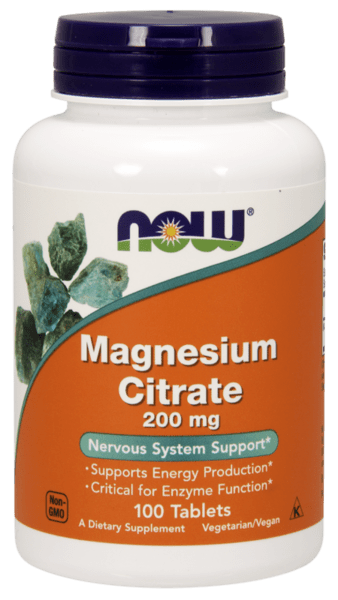 NOW - MAGNESIUM CITRATE 200 МГ - 100 ТАБЛЕТКИ