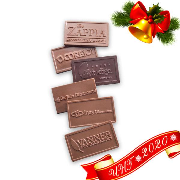 Коледен подарък / Шоколадова визитка с релефно фирмено лого