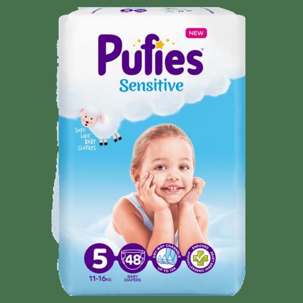 Pufies Sensitive пелени Junior 5 (11 кг - 16 кг, 48 бр.)