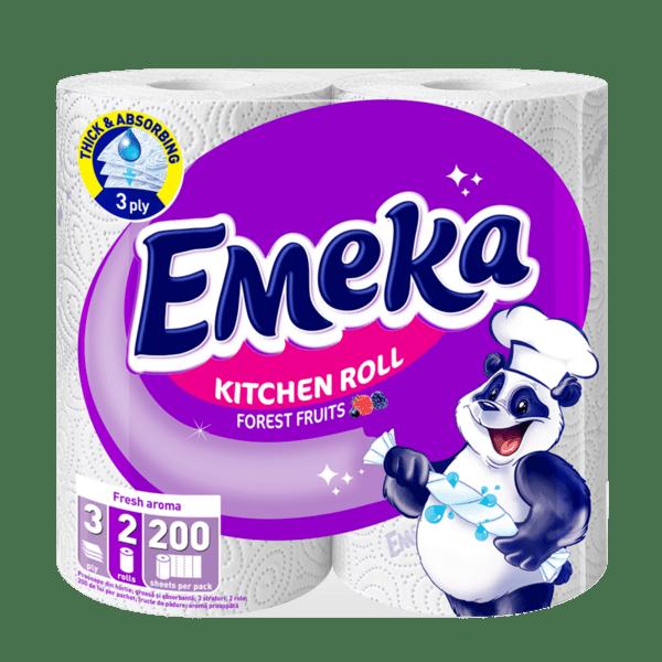 Emeka кухненска хартия, горски плодове, трипластова (2 бр. х 100 къса)
