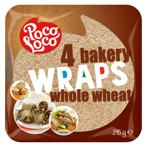 Poco Loco пълнозърнести тортили (25 см, 4 бр.)