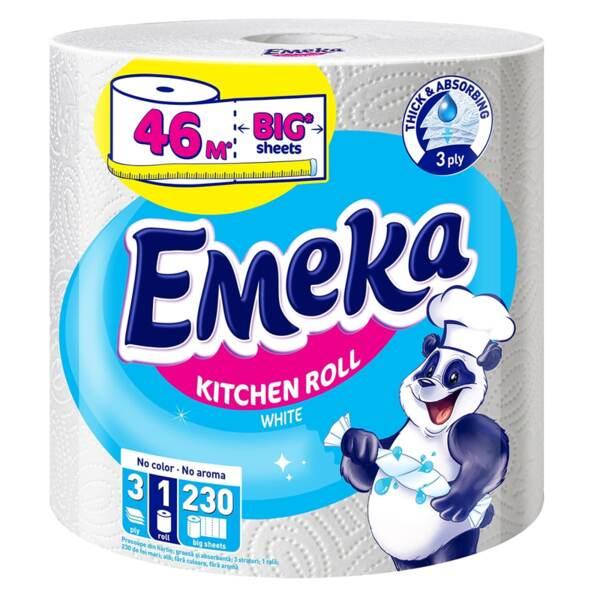 Emeka кухненска хартия Jumbo, трипластова (46 м, 230 къса)