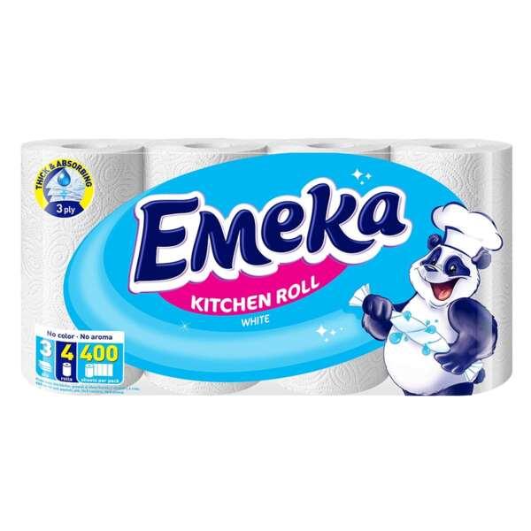 Emeka кухненска хартия, бяла, трипластова (4 бр. х 100 къса)