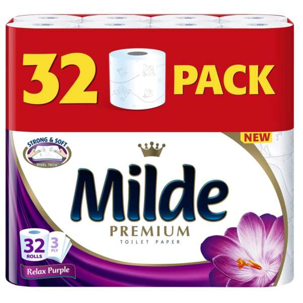 Milde тоалетна хартия, трипластова, Relax Purple (32 бр.)