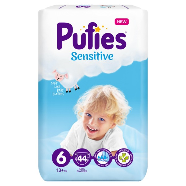 Pufies Sensitive пелени XL 6 (13+ кг, 44 бр.)