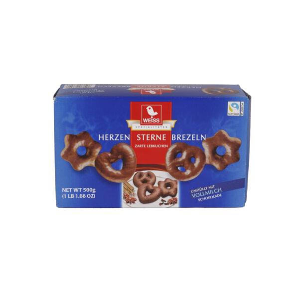 Weiss меденки сърца, звезди и брецели с млечен шоколад
