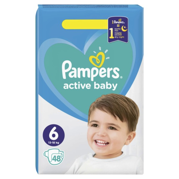 Pampers Active Baby пелени Extra Large 6 (13 кг - 18 кг, 48 бр.)