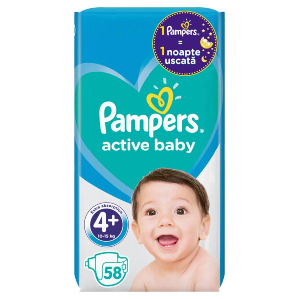Pampers Active Baby пелени Maxi+ 4+ (10 кг - 15 кг, 58 бр.)