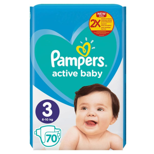 Pampers Active Baby пелени Midi 3 (6 кг - 10 кг, 70 бр.)