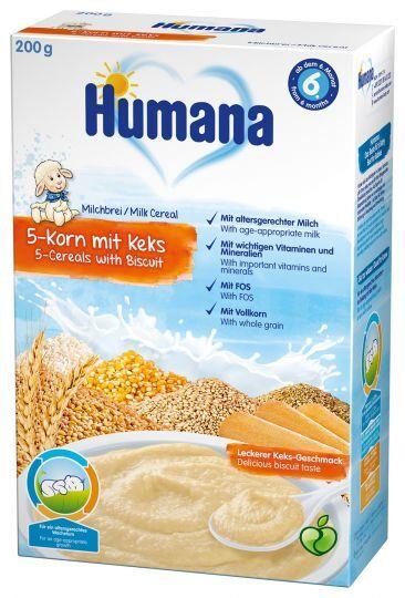 Humana млечна каша 5 зърна с бисквити (6+ месеца)