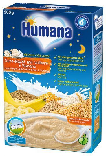 Humana пълнозърнеста млечна каша лека нощ с банан (6+ месеца)