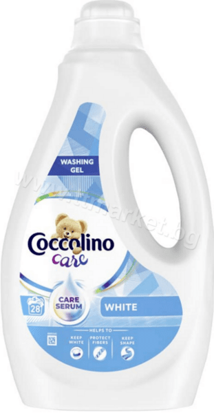 Coccolino Care White Washing Gel Течен Перилен Препарат за Бели Дрехи 1.12л./28 Пранета