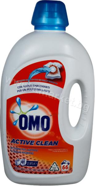 Omo Active Clean Течен Перилен Препарат за Бели и Цветни Дрехи 2.97л./66 Пранета Италианско Качество