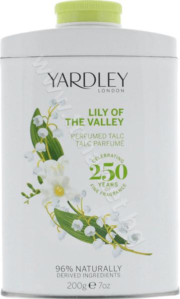 Yardley London Lily of The Valley Perfumed Talc Парфюмен Талк Пудра за Тяло с Аромат на Момина Сълза 96% Натурални Съставки 200 гр. Английско Качество
