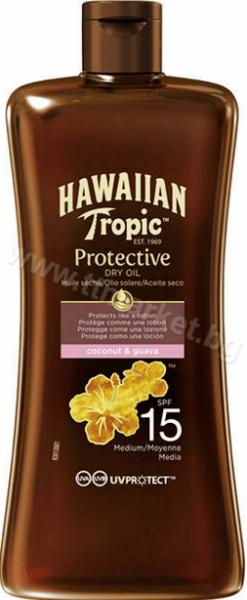Hawaiian Tropic Protective Dry Oil SPF 15 Coconut and Guava Слънцезащитно Сухо Олио Гел за Тяло SPF 15 с Аромат на Кокос и Гуава 100 мл. Американско Качество