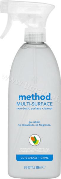 Method Multi-Surface Go Naked Универсален Почистващ Препарат Спрей Без Оцветители и Аромати с Растителни Съставки 828 мл. Английско Качество