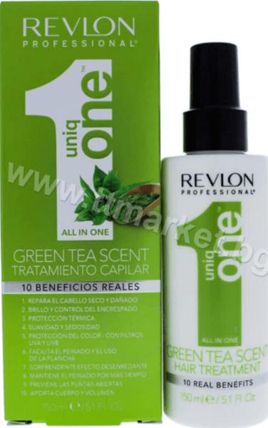 """РЕКОНСТРУКТОР Revlon All in One Green Tea Scent Hair Treatment Терапия за Коса Всичко в 1 """"10в1"""" с Аромат на Зелен Чай 150 мл. Испанско Качество"""