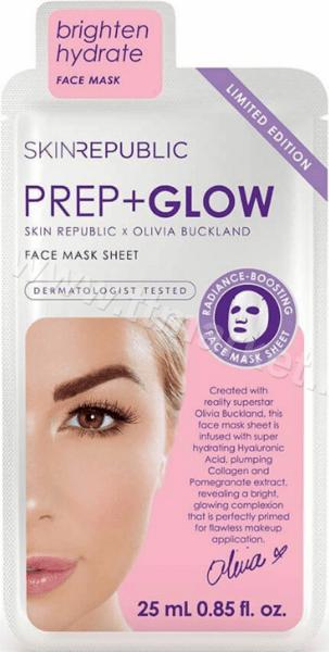 Skin Republic Prep+Glow Face Mask Sheet Хидратираща Текстилна маска за Лице 25 мл. Английско Качество