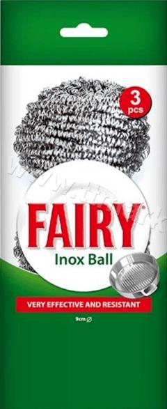 Fairy Inox Ball Иноксови Телчета за Почистване на Съдове 3 бр. Английско Качество