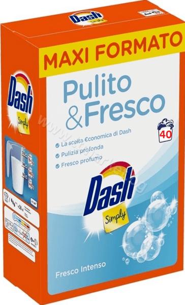 Dash Simply Pulito and Fresco Intenso Прахообразен Препарат за Пране на Бели и Цветни Дрехи със Свеж Аромат 2.6кг. /40 Пранета