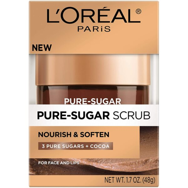 Почистващ захарен скраб за лице за суха кожа Loreal Smooth Sugars Nourish Scrub 50ml