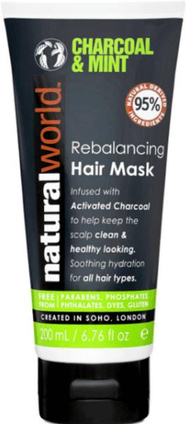 Natural World Rebalancing Hair Mask Charcoal & Mint Маска за коса с Активен въглен & Мента 95% Натурални съставки 200 мл