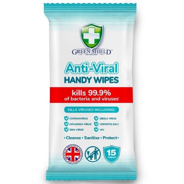 Green Shield Anti-Viral Handy Wipes Coronavirus 99.9% Антибактериални Мокри кърпи за почистване на ръце против Коронавирус и други 15 бр