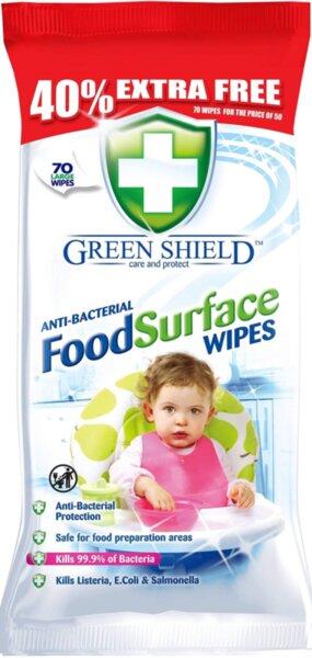 Green Shield FoodSurface Антибактериални мокри кърпи за почистване на детски принадлежности, кухненски повърхности и други 70 броя