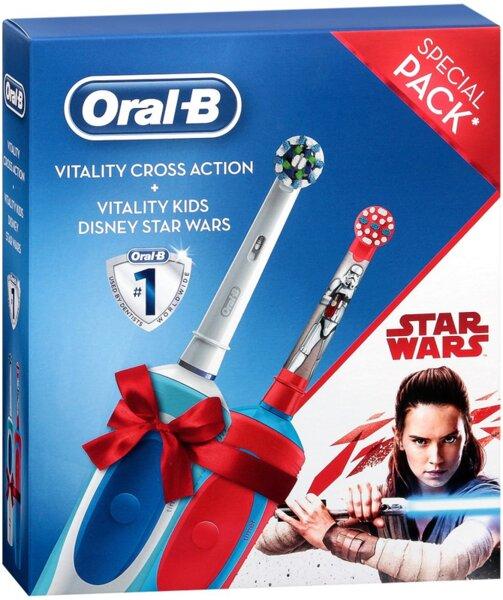 Oral-B Промо комплект Vitality Cross Action Електрическа четка за зъби + Star Wars Електрическа четка за зъби за деца, 2 четки, 1 основа, Таймер, Бял/Червен