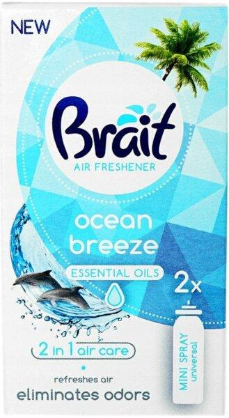 Brait Air Freshener Ocean Breeze Essential Oils 2 in 1 Air Care Ароматизатор за въздух с етерични масла Океански бриз 2бр.х10мл.