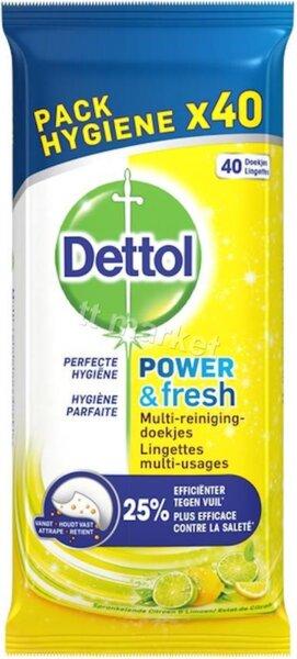 Dettol Anti- Bacterial Hygiënische Reinigingsdoekjes Citrus Power and Fresh Антибактериални АРОМАТИЗИРАНИ УНИВЕРСАЛНИ ПОЧИСТВАЩИ И ДЕЗИНФЕКЦИРАЩИ МОКРИ КЪРПИ 40 бр.