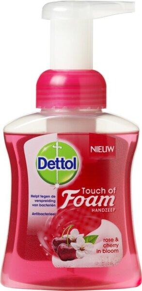 Dettol Mousse Anti-bacterial Douceur de Soft on Skin Roos-en Keresenbloem Антибактериален течен сапун на ПЯНА с парфюмен аромат на Роза и цвят Череша 250 мл