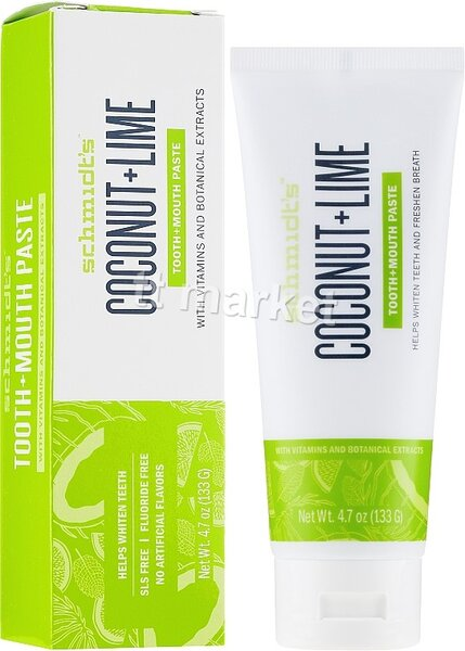Schmidt's - Coconut and Lime Tooth + Mouth Paste - Natural Refreshing Toothpaste Избелваща Паста за Зъби с Кокос и Лайм 100 мл.