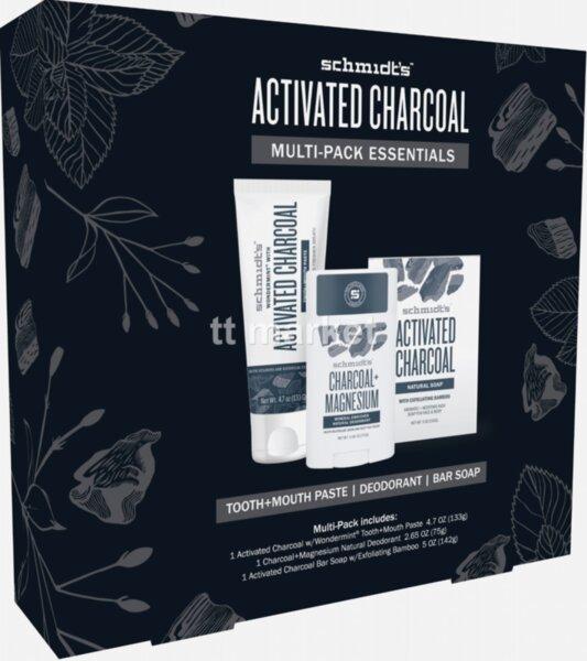 Schmidt`s Naturals Geschenkset Activated Charcoal Подаръчен Комплект с НАТУРАЛНИ СЪСТАВКИ от 3 Части, Дезодорант- Стик 72 гр, Тоалетен сапун 142 гр, Паста за зъби и уста 133 гр