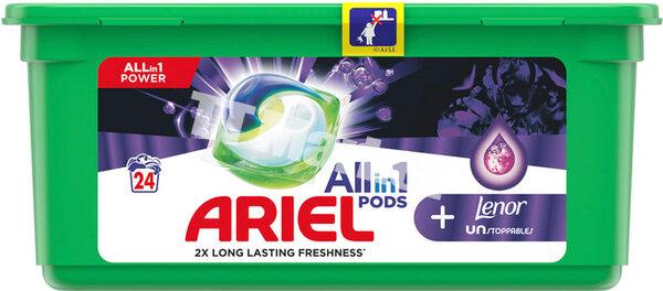Ariel All in 1 Pods + Lenor Unstoppables Парфюмни Течни Капсули за Пране на Бели и Цветни Дрехи с ЛЕНОР 24 броя за 24 пранета