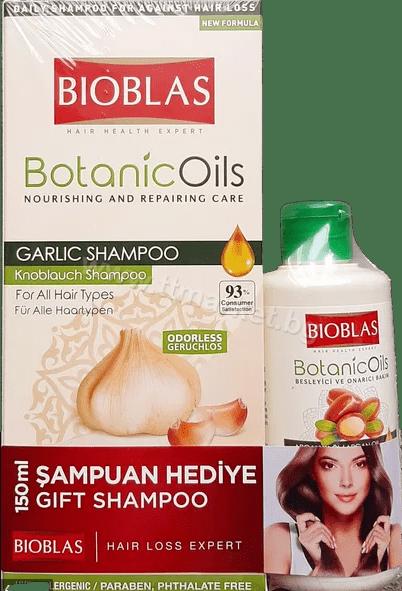 Bioblas Botanic Oils Garlic Shampoo and Anti Hair Loss Shampoo With Argan Oil Комплект Шампоан с Чесън 360 мл. и Шампоан Против Косопад с Арганово Масло 150 мл. Турско Качество