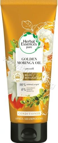 Herbal Essences Pure Golden Moringa Oil Conditioner Омекотяващ Балсам за Увредена Коса с Масло от Моринга 90% Натурални Съставки Без Оцветители и Парафин 200 мл.