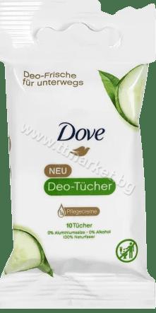 Dove Deo-Tucher Део Мокри Кърпи за Освежаване на Подмишниците с Краставица Без Алкохол 100% Натурални 10 бр. Немско Качество