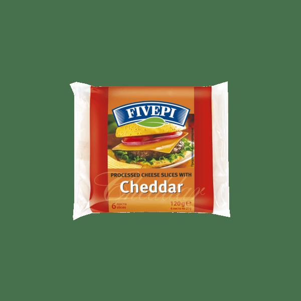 Топено сирене FIVEPI чедър слайс 120 г