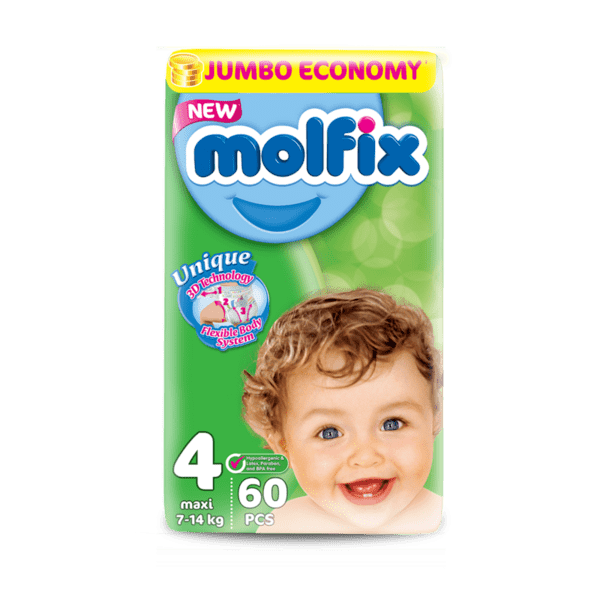 Бебешки пелени MOLFIX Jumbo Maxi 7-14 кг 60 бр.