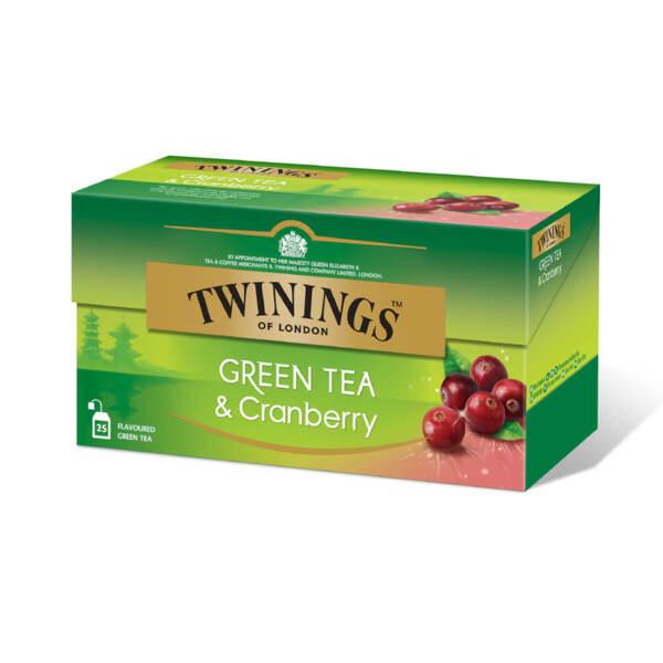 Зелен чай Twinings с червена боровинка 25 филтър пакетчета х 1.6гр.