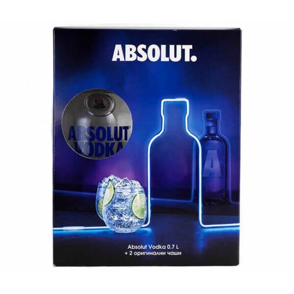Водка Absolut в комплект с 2 чаши 700ml.